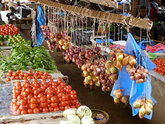 Vegetables for sale at market in Malawi