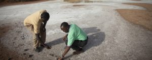 Ephraim Nkonya (IFPRI) and colleague examining land affected by salinity (Senegal).